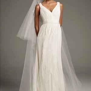 Pleated Tulle Flutter-Back Sheath Wedding Dress
